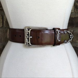 Brighton Belt S Leather Brown Silver